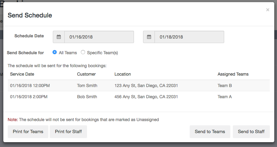 Send Schedule to Teams - Launch27 online booking