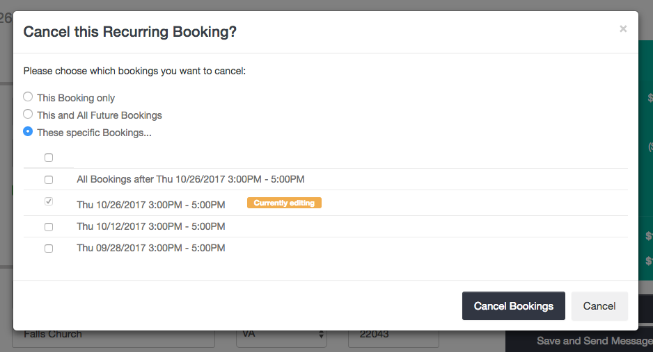 Cancel recurring bookings - choose options