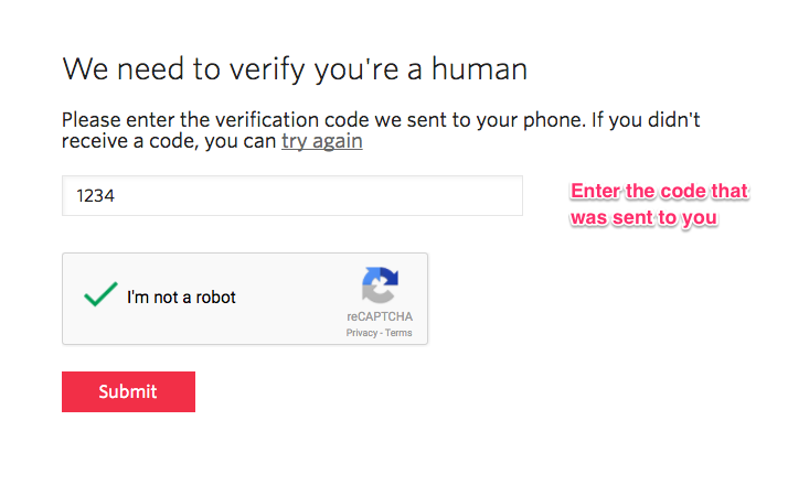 Twilio Signup - confirm phone