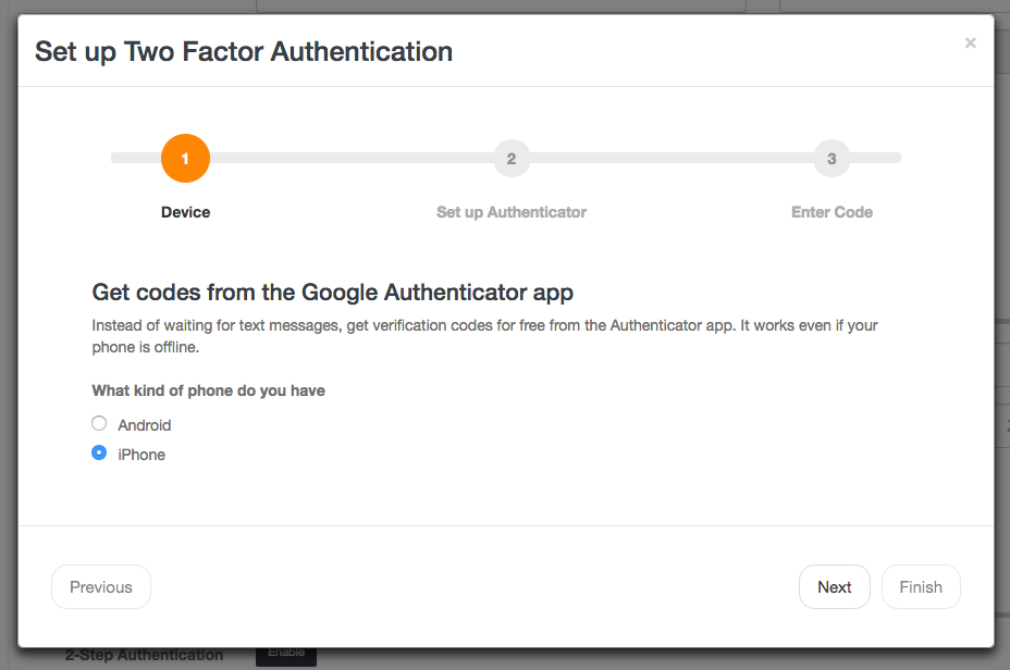 Choose your device to two-step authentication in Launch27