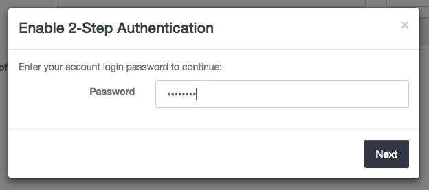 Enter your password to two-step authentication in Launch27