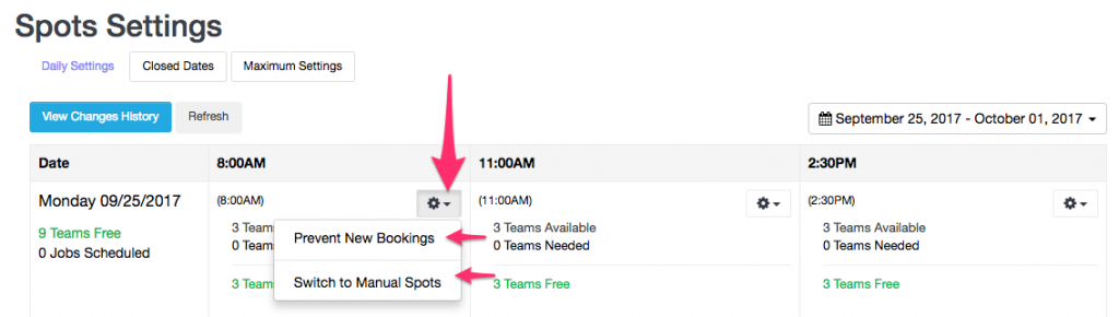 Settings menu for time slot in Team availability mode