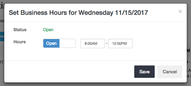 Business Hours for Specific Date - Launch27 online booking