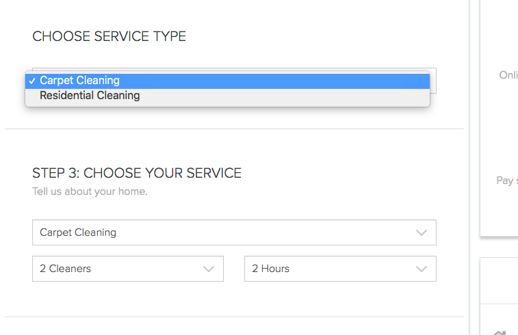 Service Categories on booking form - launch27.com online booking