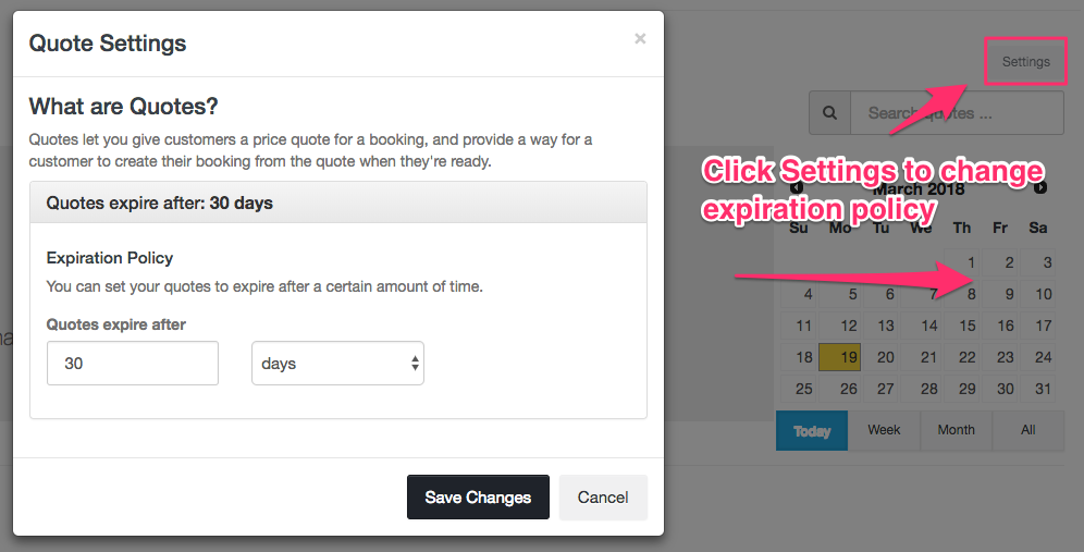 Quote feature settings - Expiration Policy - Launch27 online booking