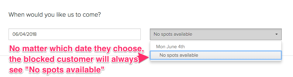 Blocked customers can't see available spots - Launch27 online booking