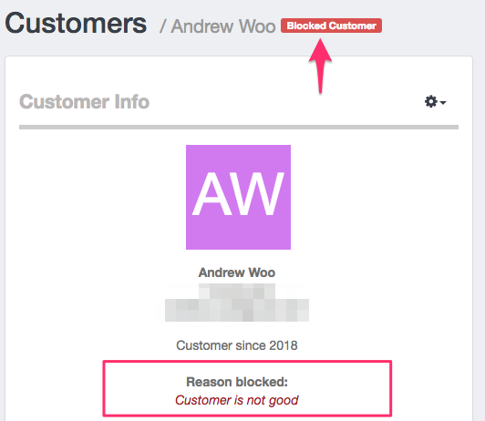 Profile of blocked customer - Launch27 online booking