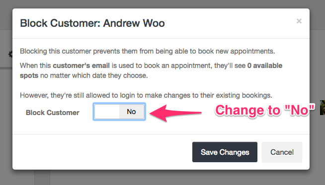 Unblock customer modal - Launch27 online booking