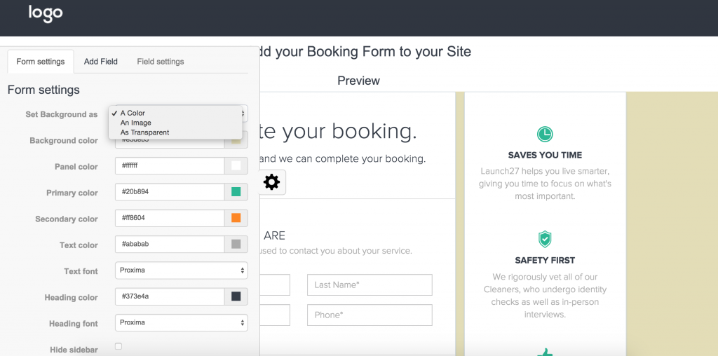Customize booking form