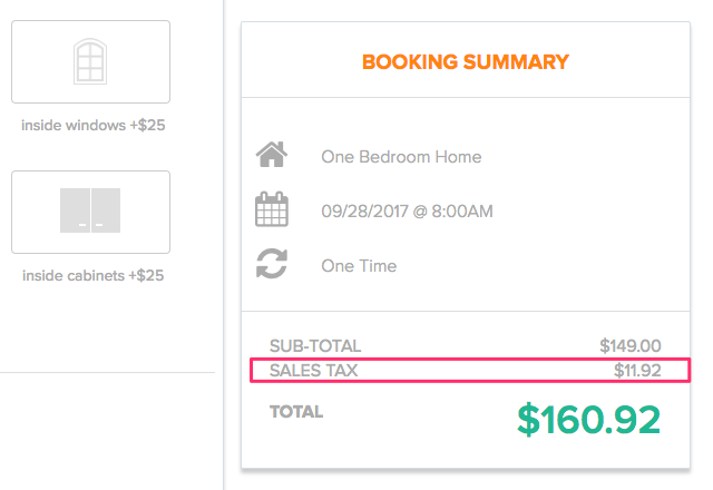 Sales tax applied to booking's Total