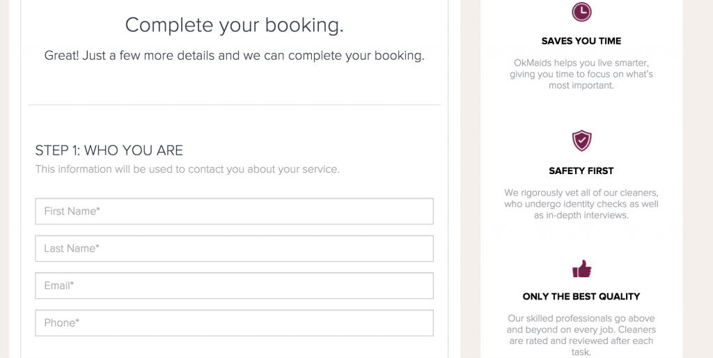 Colors on booking page