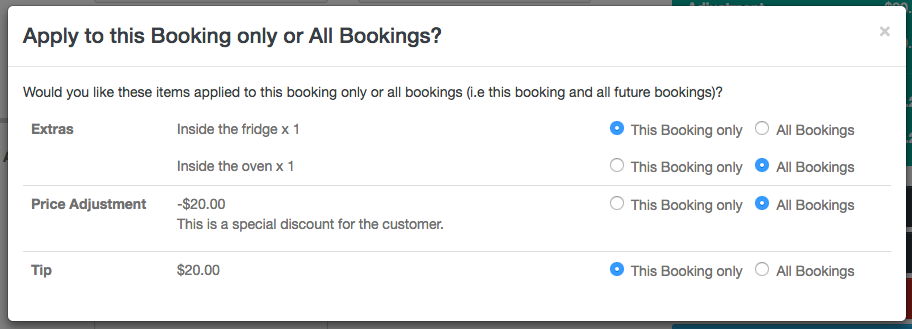 Making Items One-Time vs Every Time in a Recurring Booking - Recurring Items Settings - Launch27