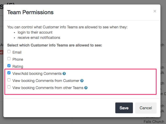 Team permissions for comments