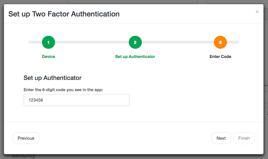 Enter code from Google Authenticator into Launch27