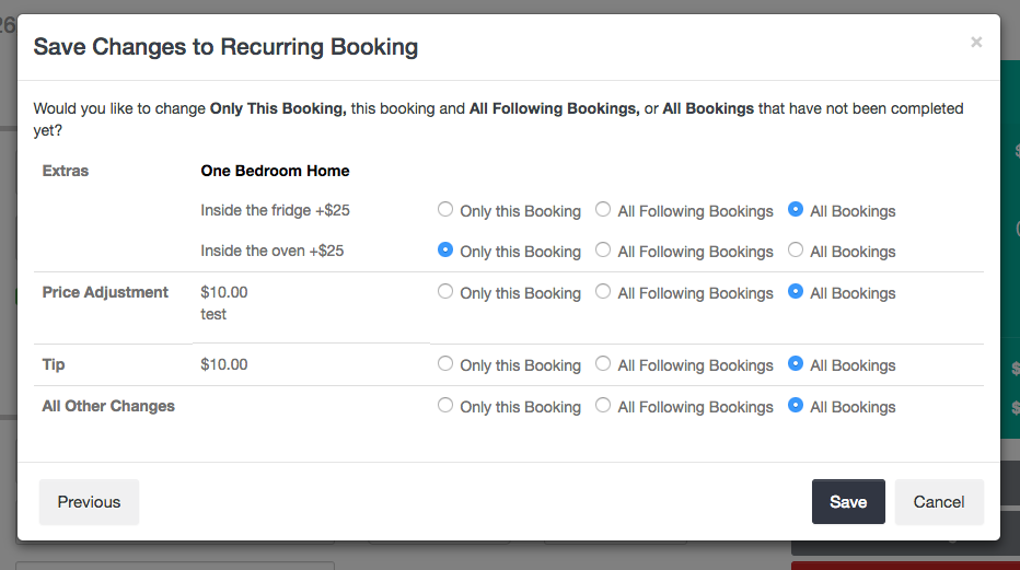 Saving Changes to Recurring Booking - all other changes