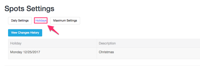 Holidays tab on Booking Availability page