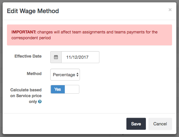 Percentage-based wage method - Launch27 online booking