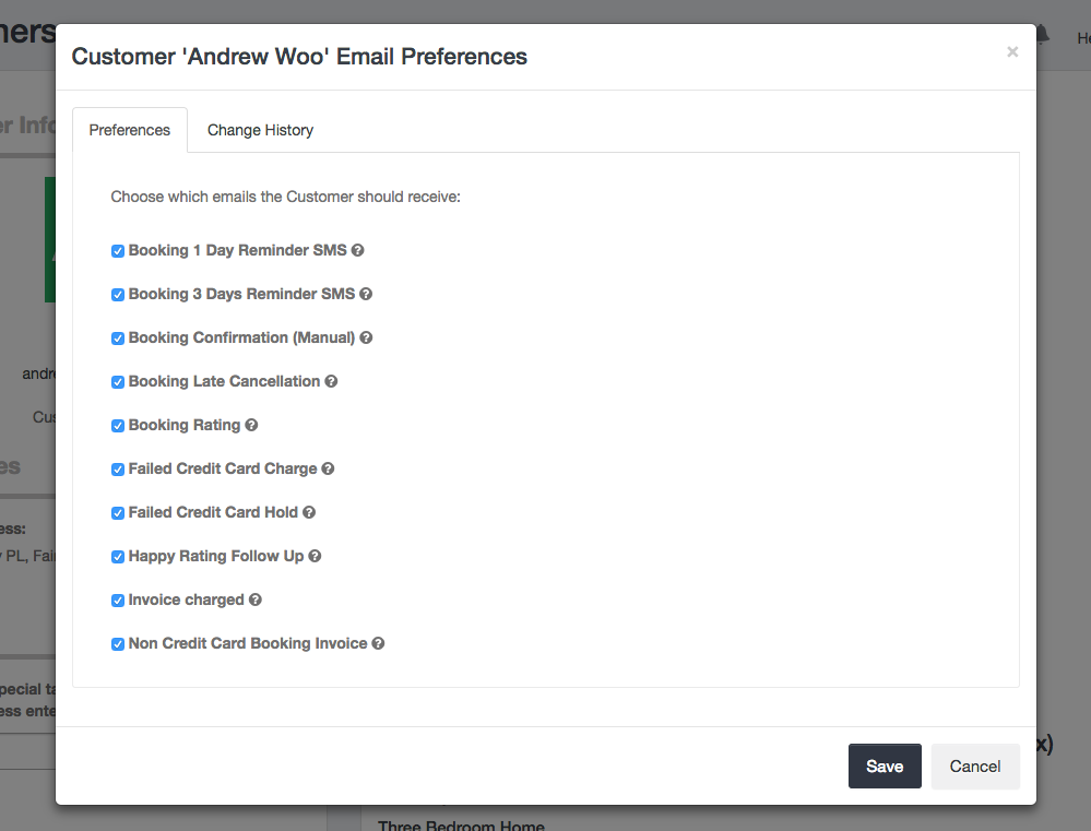 Manage customer's email preferences