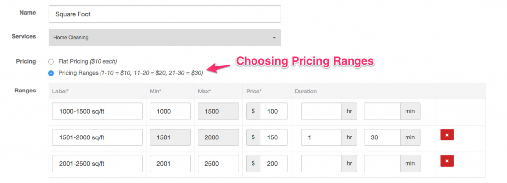 Creating a pricing parameter with ranges - Launch27 online booking