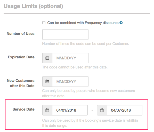 Discount codes for specific service dates - Launch27 online booking