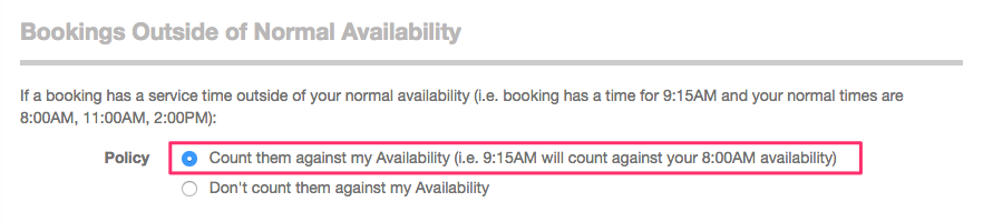 Include out of spot bookings against your normal availability - Launch27 online booking